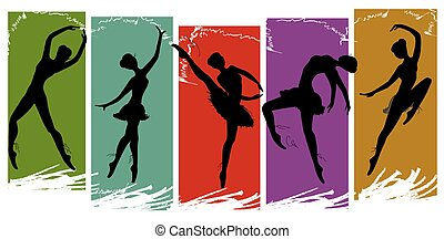set of pretty ballet dancers in various poses, vector...