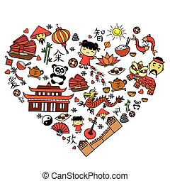 Chinese cartoon icon set in heart shape