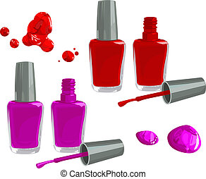 Nail polish - Bottles of nail polish, isolated on white...