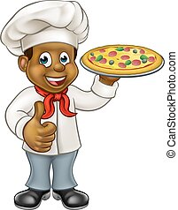 Black Pizza Chef Cartoon Character - Cartoon black chef cook...