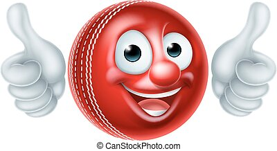 Cricket Ball Cartoon Character - A cartoon cricket ball man...