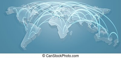 World Map Flight Path Background - A 3d blue world map...