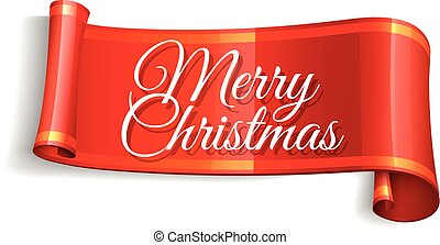 Realistic Red paper banners set with Merry Christmas