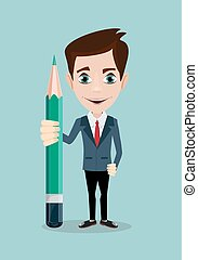 Reporter with pencil. Thinking creative work - Reporter or...