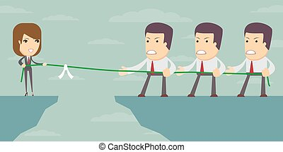Businesswoman in tug of war - A businesswoman in tug of war...