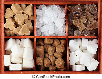 Sugar collection - Various kinds of sugar cubes in a box....