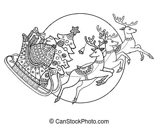Christmas sleigh with reindeers coloring vector