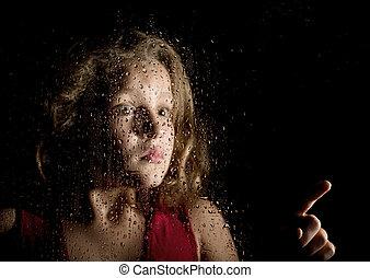 mujer, atrás, ventana, joven, triste, gotas, solo, Algo,...