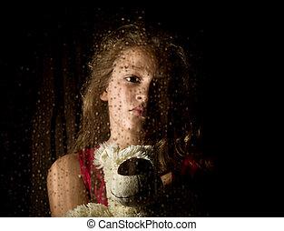 solo, tenencia, teddy, joven, oso, triste, gotas, atrás,...