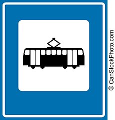 Tram icon. Tram Vector isolated on white background. Flat vector illustration in black.