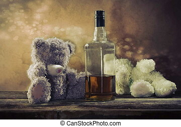 Two Teddy Bears drunk bourbon whiskey at Christmas