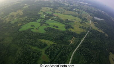 view from a balloon on a plain