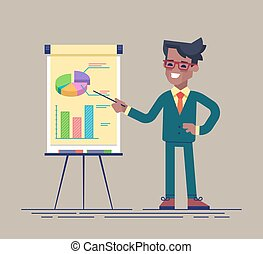 Black businessman standing near flip chart. - Confident...