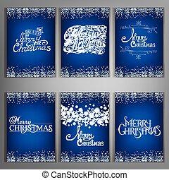 Set Christmas decorations lettering design message.