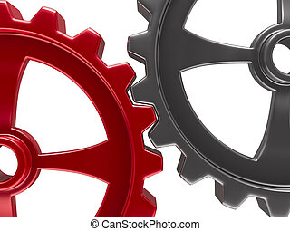 Two gears on white background. Isolated 3D image