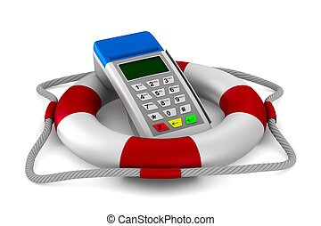 lifebuoy and pos terminal on white background. Isolated 3D...