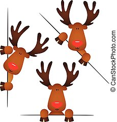Cute reindeer peeking from behind in various positions