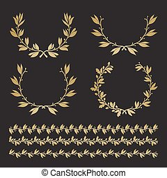 Silhouette laurel and oak wreaths in different  shapes, borders.