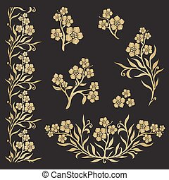 Forget-me-not (myosotis) graphic flower silhouettes in gold...