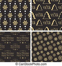 Vector seamless tiling patterns - christmas backgrounds