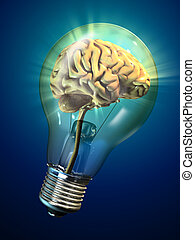 Bright idea - Human brain inside a glowing electrical bulb....