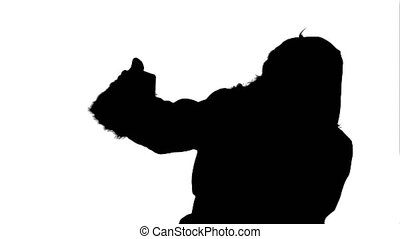 Silhouette Santa Claus take a selfie. Professional shot on...