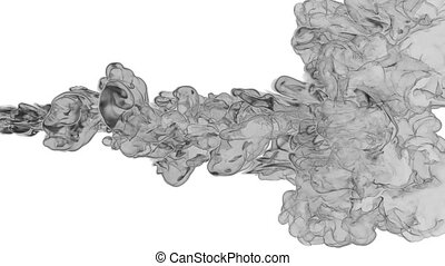 black paint dissolved in water on a white background. 3d render. voxel graphics. computer simulation 2