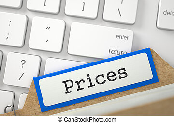 Sort Index Card with Prices. 3D. - Prices written on Orange...