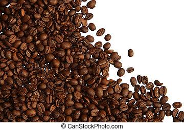 café, feijões, branca, fundo