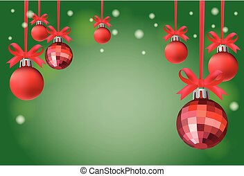 Background Christmas Red Balls on green and white...