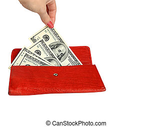 Money wallet red, happy shopping