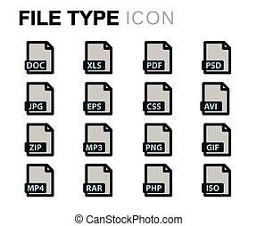 plat,  Set, iconen,  Vector, bestand,  type