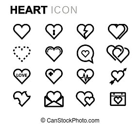 Vector line heart icons set