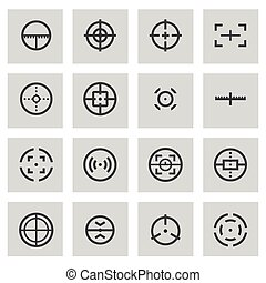 Vector line crosshair set on grey background