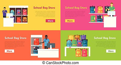 School Bag Store Vector Set. Seller at the Counter