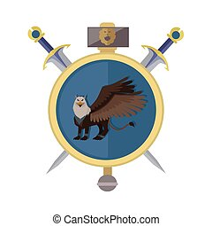 Griffin Avatar Icon - Griffin with axes, isolated avatar...