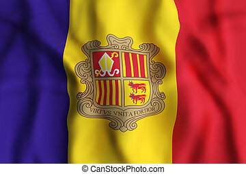 Andorra flag waving - 3d rendering of an Andorra flag waving