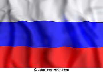 Russian Federation flag waving - 3d rendering of Russian...