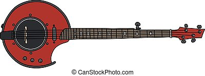 Red electric banjo - Hand drawing of a modern red electric...
