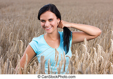 Young happy girl - Portrait of attractive woman, happy and...