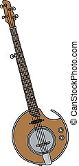 Modern electric banjo - Hand drawing of a modern electric...