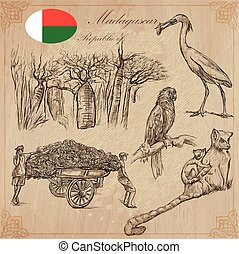 Madagascar - Pictures of life. Travel vector set. - Travel...