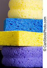 Composition of sponges of colors in horizontal cleaning