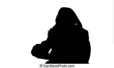 Silhouette Santa Claus: Cheerful Gifts. Professional shot on...