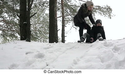 Girl sledding down the hill 96fps