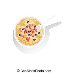 Oatmeal Porridge With Fresh Berries Classic Breakfast Food...