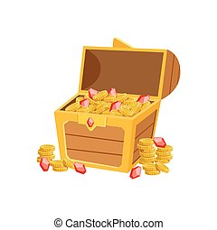 Half Open Pirate Chest With Golden Coins And Rubies, Hidden...