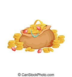 Big Sack With Golden Coins And Jewelry, Hidden Treasure And...