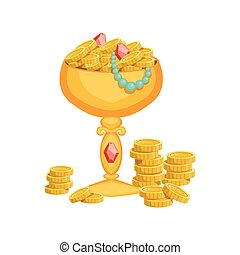 Golden Goblet With Gold Coins And Jewelry,Hidden Treasure...
