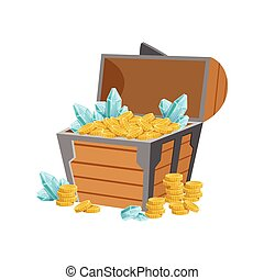Half Open Pirate Chest WIth Golden Coins And Blue Crystal...